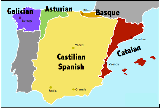 Language map of Spain, Spanish language, Spanish Culture, Spanish geography, Spanish preschool