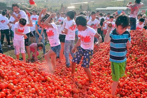 La Tomatina tomato fight in Valencia, Spain