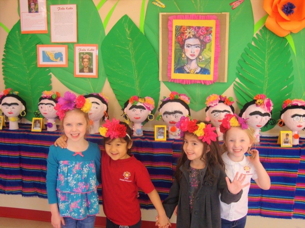 children learning about Mexican artist Frida Kahlo, raising global citizens