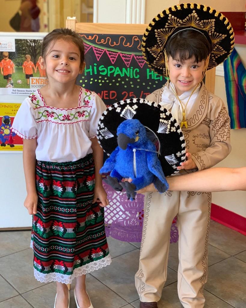 Kids celebrating Hispanic Heritage at Spanish Schoolhouse; Global kids