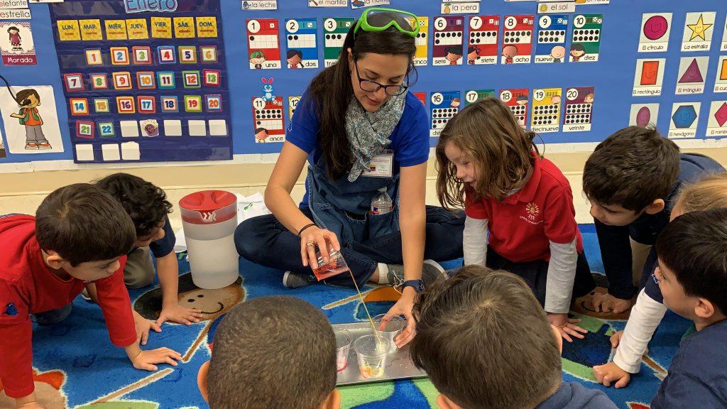 Preschool circle time, preschool science experiment, Spanish Schoolhouse students