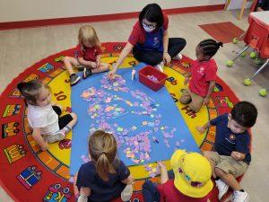 preschoolers doing group activity
