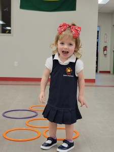 Spanish Schoolhouse preschooler playing in the gym